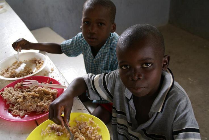 Some of the children of the feeding program