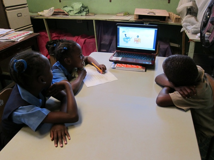 Finally a working computer at the school, thanks to a donation from USAID specifically for literacy education