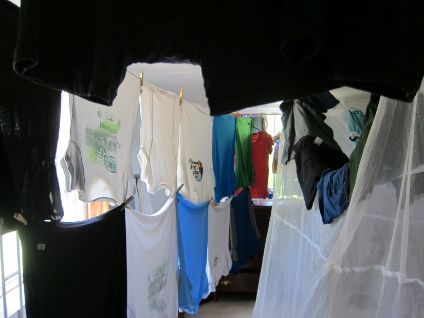 We figured out a way to double-decker our laundry when we have to hang it inside