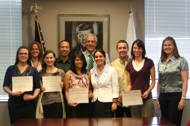 Blog It Home 2013 winners at Peace Corps headquarters with acting PC Director and Third Goal staff. Photo courtesy of OTG.