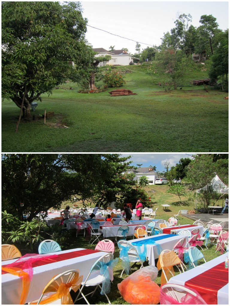 The yard before and after decorations