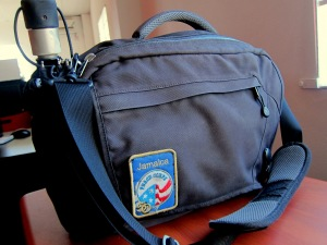 my messenger bag with compact umbrella & commemorative patch