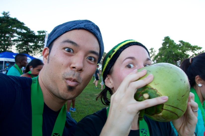 Post-race coconut water at the Reggae Marathon (We did the 10k)