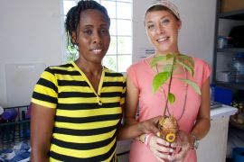 PCV Jordan and Celia working on environmental education